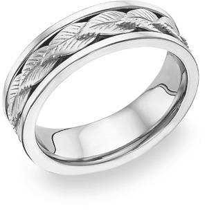 14K White Gold Wreath Design Wedding Band