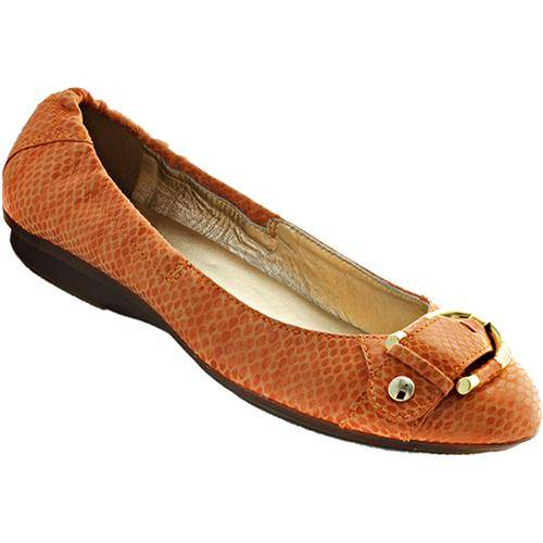 Orange Flats with Gold Buckle