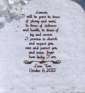 Embroidered Wedding Vows