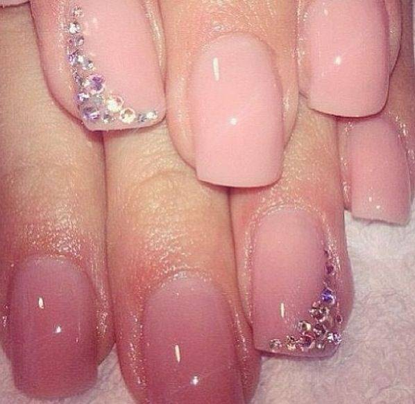 Blush Pink Manicure with Rhinestones