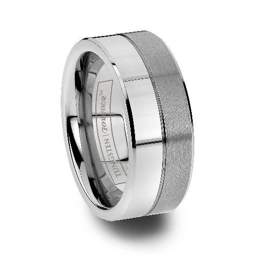 Castor Polished And Brushed Tungsten Rings For Men