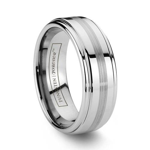 Fortitude Mens Tungsten Wedding Band Brushed Center