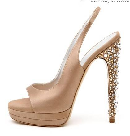 Nude Shoe with Jeweled Heel