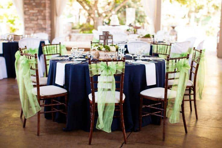 Navy and Lime Green Reception Table Decor