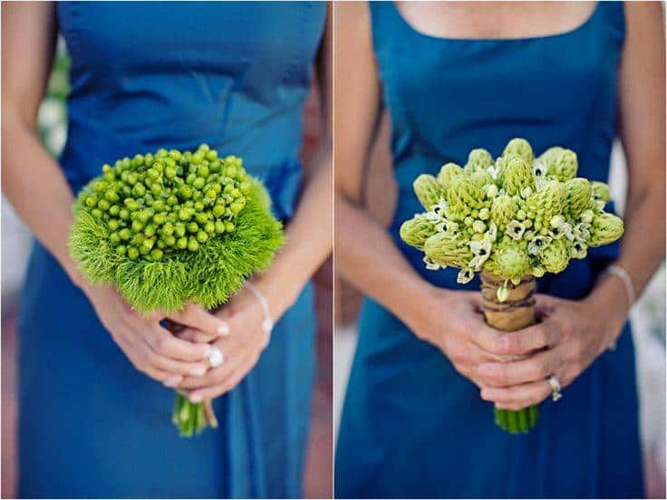 Blue Bridesmaid Dresses and Lime Green Flowers