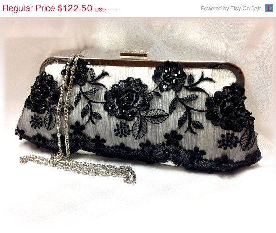 White and Black Lace Bridal Clutch