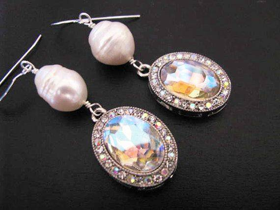 Sterling Silver Large Baroque Cultured Pearl Crystal Earring Drops