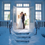 Bride and Groom Outside in Snow
