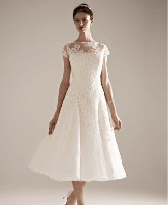 Cap Sleeve Wedding Dress with Illusion Neckline