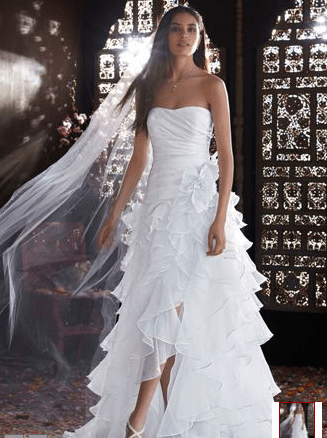 Strapless Organza High Low Ruffle Skirt Gown