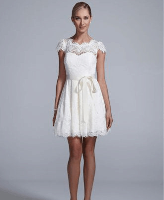 Cap Sleeve All Over Lace Dress with Ribbon