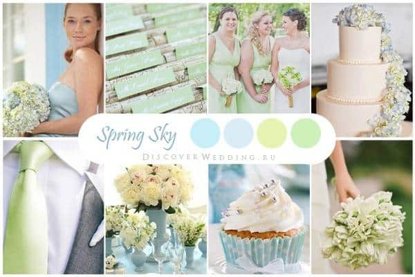Country Blue and Spring Green Wedding Colors