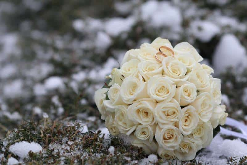 wedding rings with bouquet of winter
