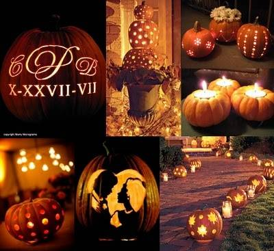 Carved Pumpkin Wedding Decor