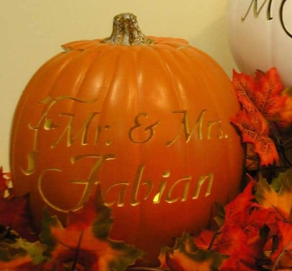 Wedding Couple's Name in Pumpkin