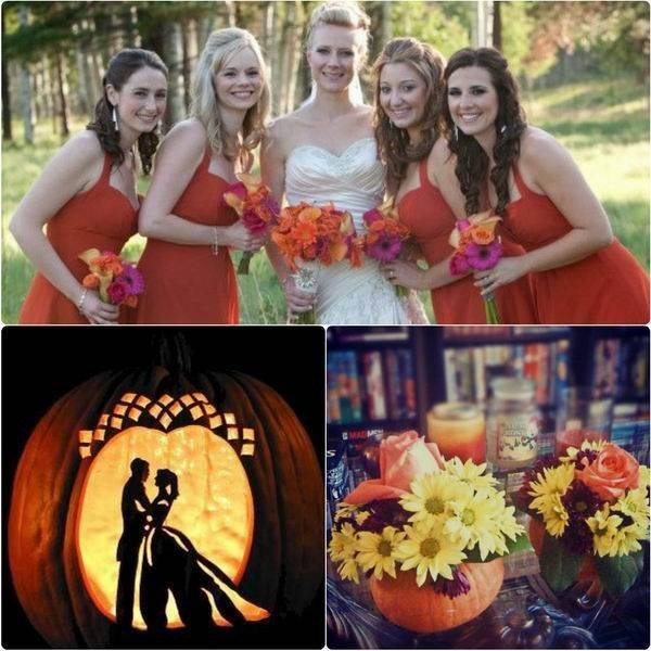 Fall Wedding With Carved Pumpkins