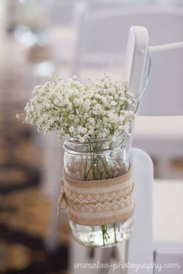 Baby's Breath in Burlap Mason Jar