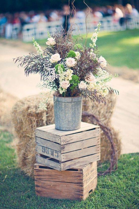 Rustic Flower and Crate Decor