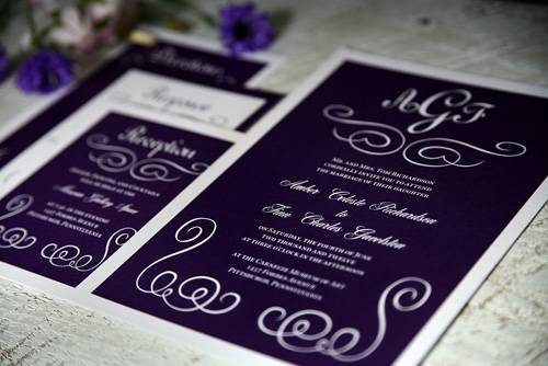 purple wedding invitations Stunning Purple Wedding Theme Ideas