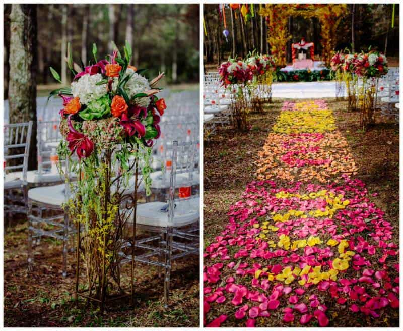 10flowers2 A Joyful Outdoor Indian Wedding   Simply Gorgeous