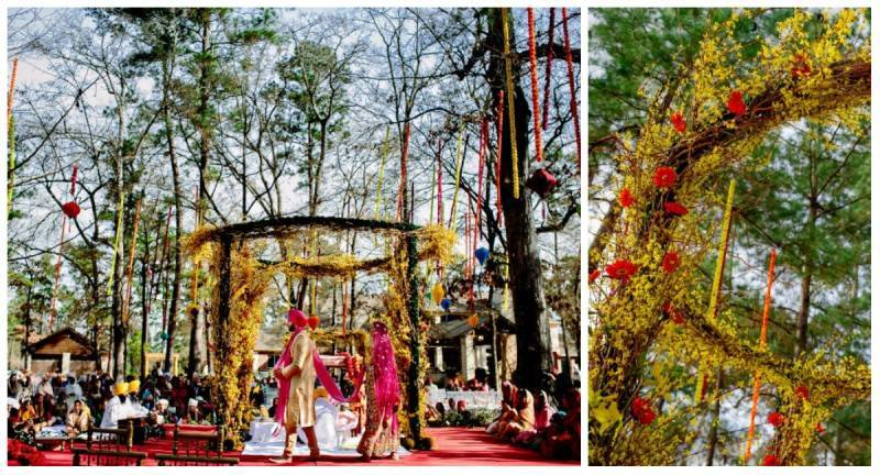 6flower arc 800x432 A Joyful Outdoor Indian Wedding   Simply Gorgeous
