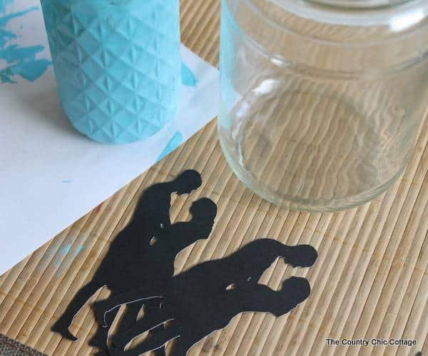 Silhouette Mason Jar Idea for Wedding Centerpieces