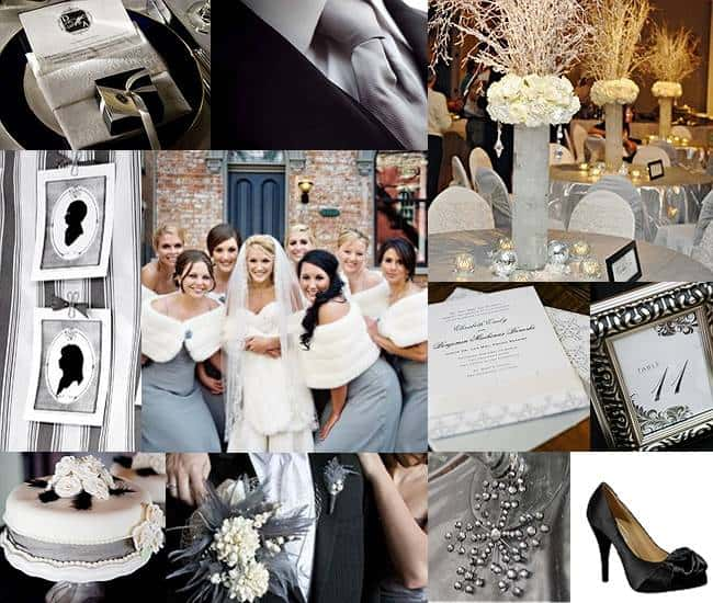 Wedding color palette silver inspired bride for Winter wedding color palettes