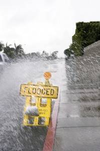 Flooded street sign