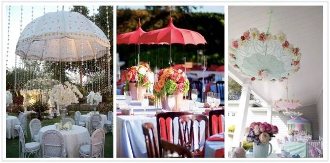 Super Cute Reception Décor: Hanging Umbrellas