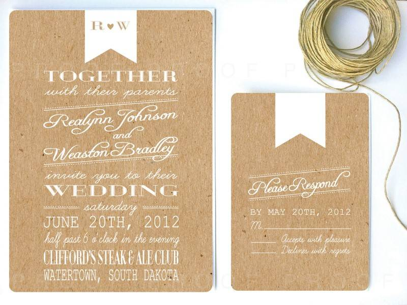 6 Beautiful Handmade Kraft Paper Wedding Invitations