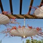 Super Cute Reception Decor: Hanging Umbrellas