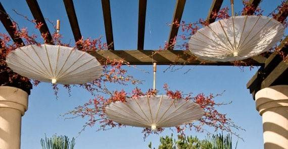 64 Super Cute Reception Decor: Hanging Umbrellas