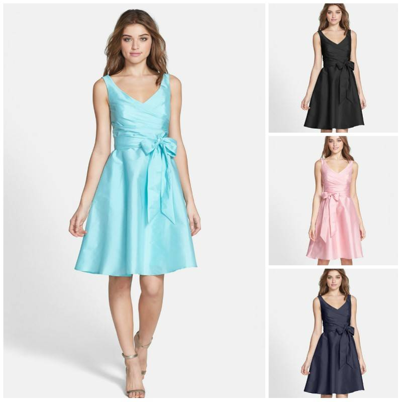 Nordstrom Alfred Sung - Satin Fit & Flare Dress