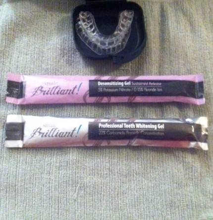 Personal Whitening Teeth Trays and Case, Desensitizing Gel (pink) and Whitening Gel (silver)