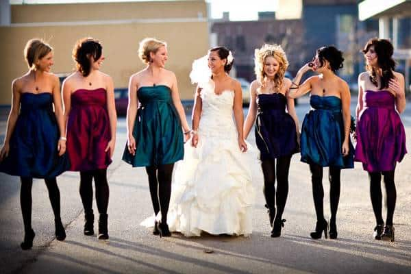 Metallic bridesmaids dresses perfect for a fall or winter for Winter wedding colors for bridesmaids dresses