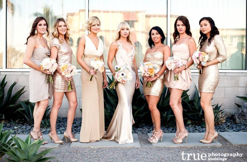 Metallic Bridesmaids Dresses: Perfect for a Fall or Winter Wedding