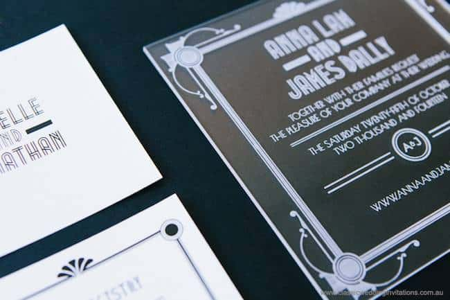 engraved acrylic wedding invite