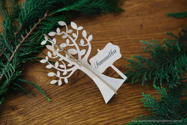 laser cut tree wedding placecard