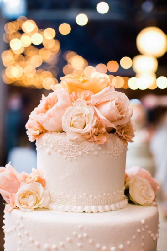 I love how this cake reminds me of a beautiful and really feminine wedding gown.M and E Photo Studio | View More Photos from the Event