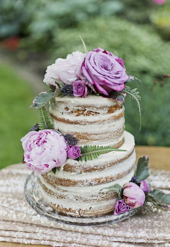 This semi-naked cake is perfect for rustic weddings. The texture totally adds to the character.Tiffany Santini-Rousseau for Vita Photography | View More Photos from the Event