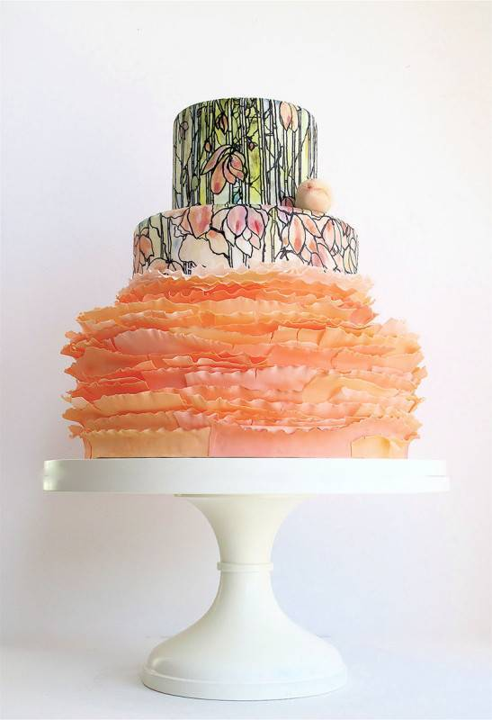 Handpainted-Wedding-Cake-Peach-Ruffles 2