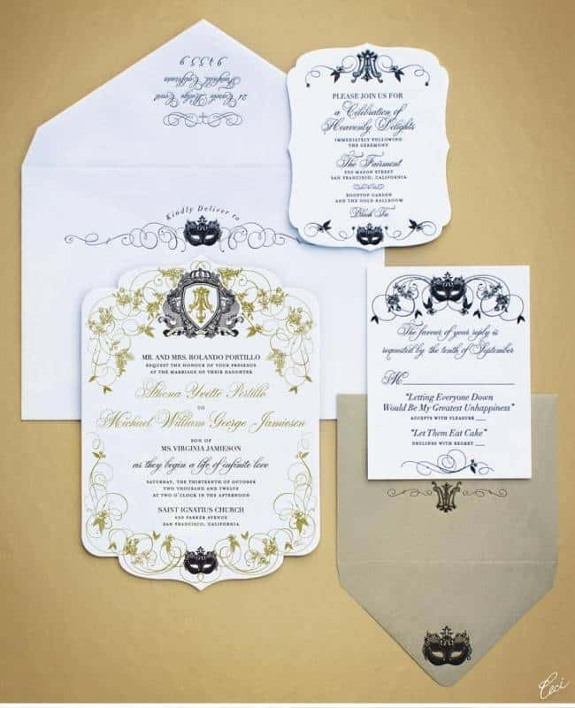 die_cut_masquerade_monogram_gold_black_luxury_wedding_invitations_ceci_johnson_v131_om_1a