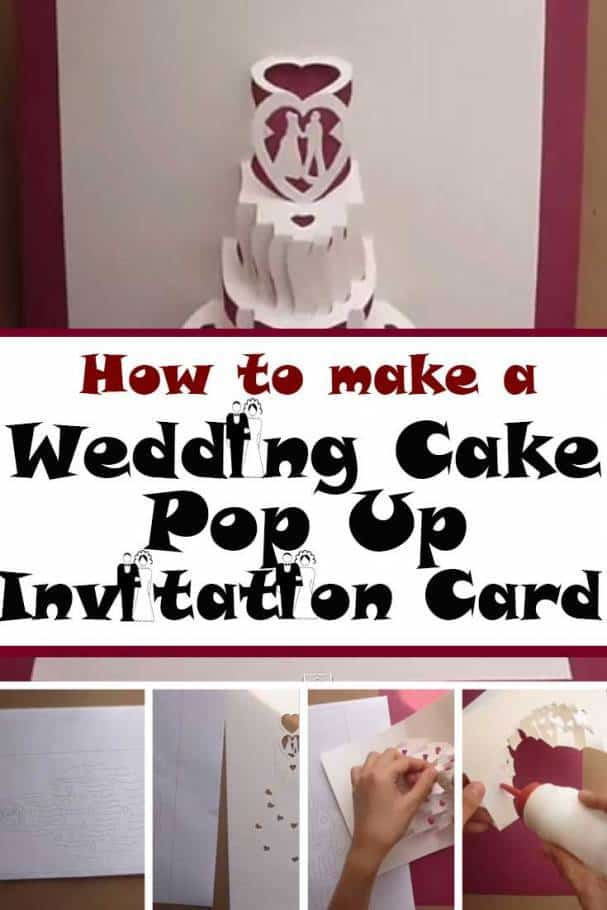 diy wedding cake pop out invitation card