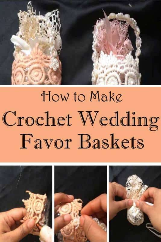 crochet wedding favor baskets