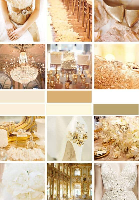 So you love the color gold and you know this will be one of your wedding colors but you're not sure about the others. We want to share some gold color pallets along with some tips on your wedding color palette especially for choosing a great companion color for gold.