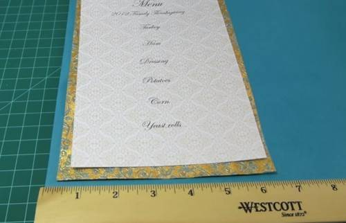 DIY Wedding Menu Card