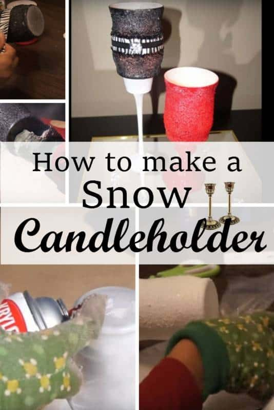 diy snow candle holder