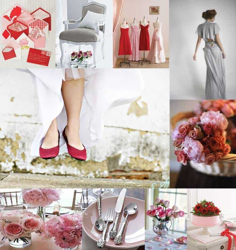 Pink-Gray-Red-Wedding-Inspiration-Board