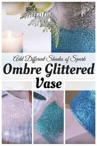 Ombre Glittered vase diy