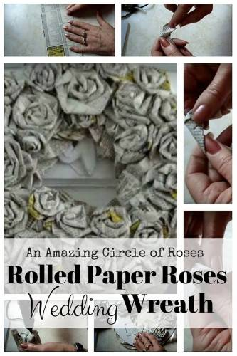 Rolled Paper Roses wedding wreath diy